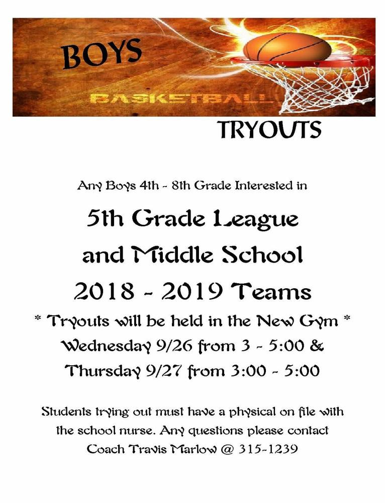 Junior High Boys Basketball Tryout