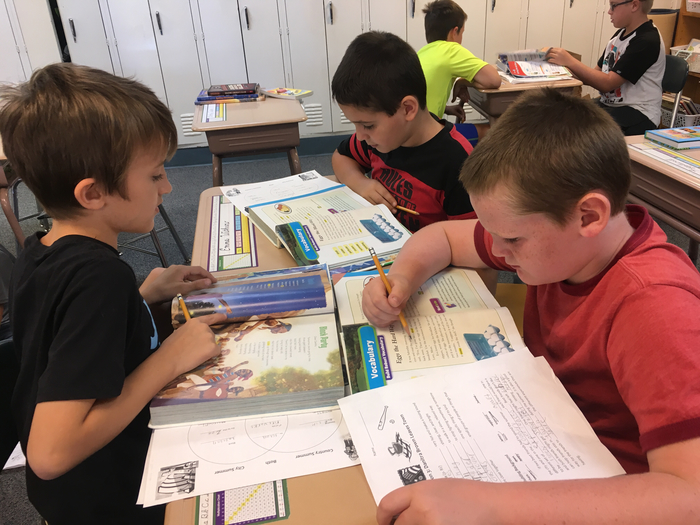 4th Graders work in cooperative groups to learn reading vocabulary words.
