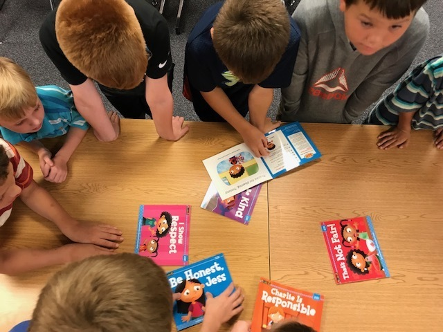Students are checking out the new books.