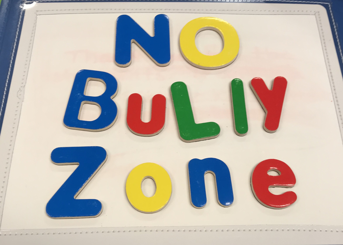 No Bully Zone. A student put on magnetic board.