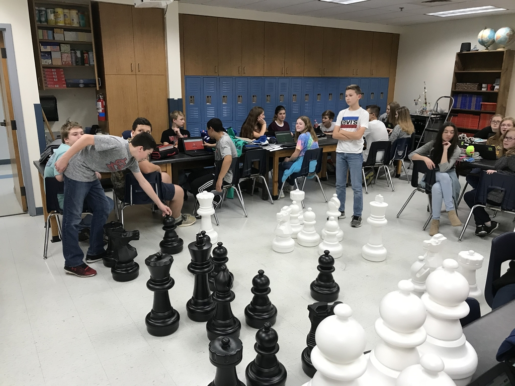 Members of Chess Club are really enjoying the new mega chess set.